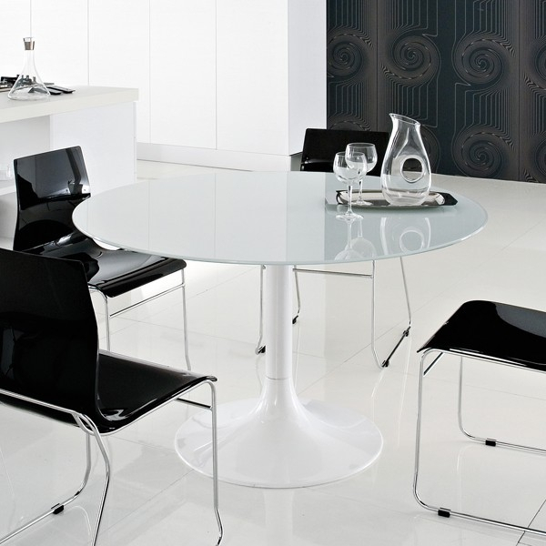 Domitalia Corona 120 Glass Dining Table | Contemporary Intended For Dom Round Dining Tables (Image 18 of 25)