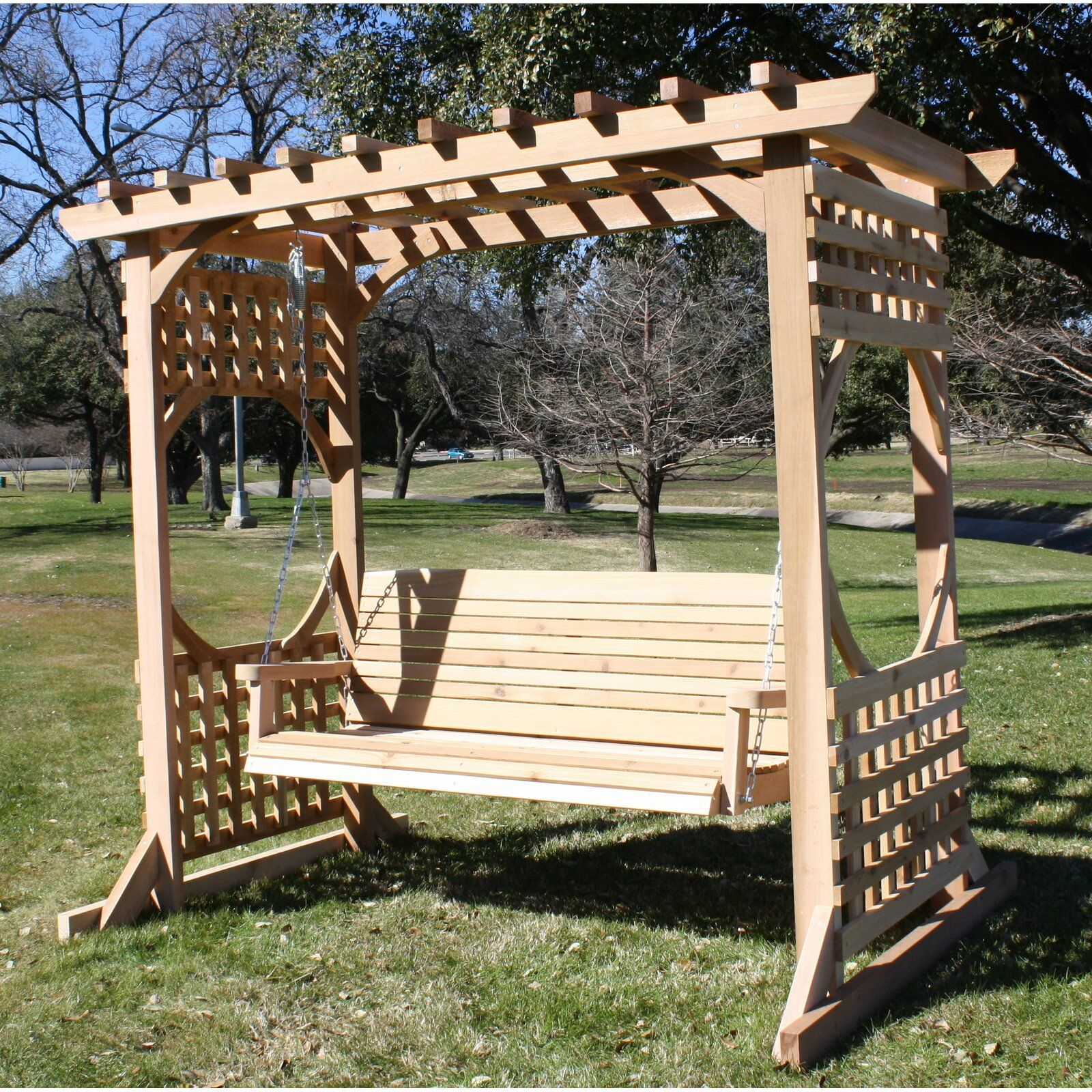 Donath Cedar Arbor Porch Swing With Stand In 2019 | Outdoors In Pergola Porch Swings With Stand (View 8 of 26)