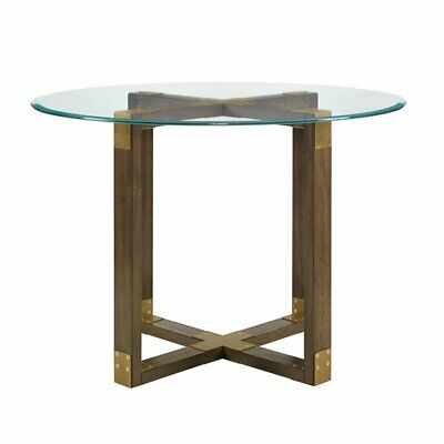 "Dorel Living Bronx 43"" Round Glass Top Dining Table In Rustic Oak 65857182071 