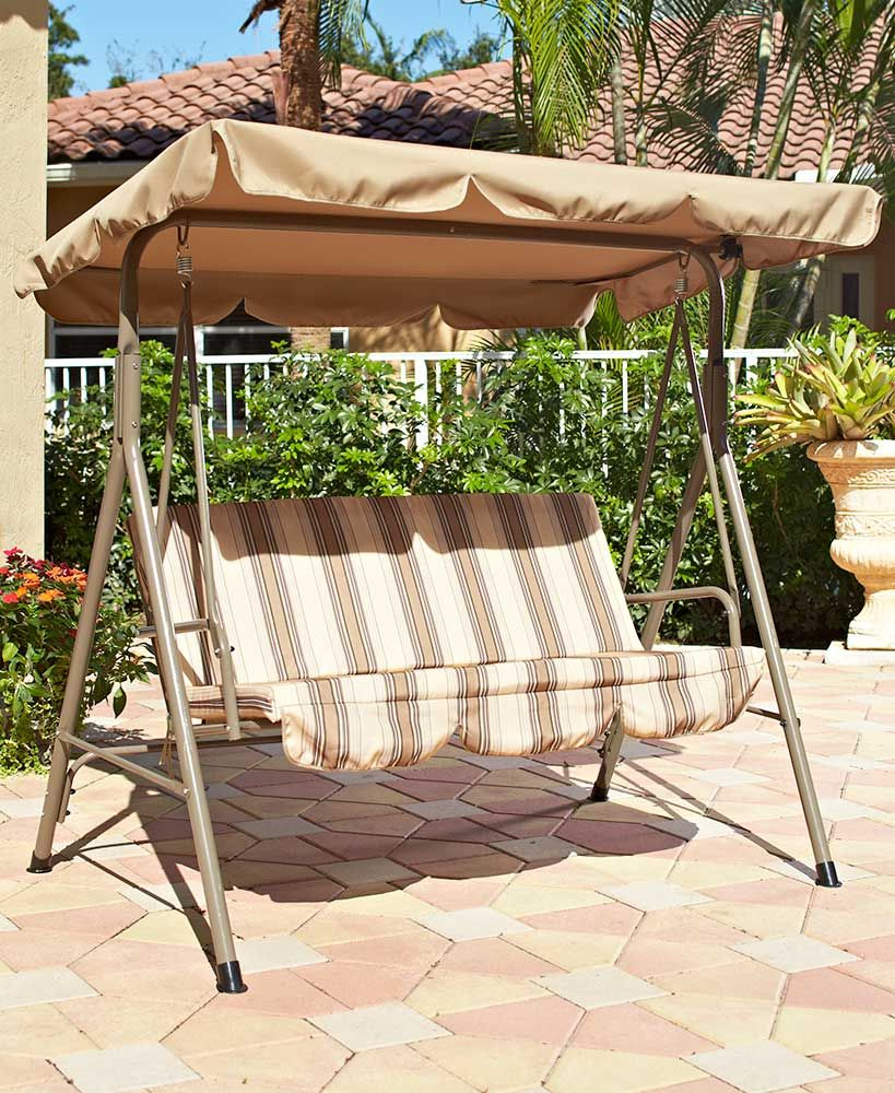 Double Outdoor Canopy Swings | Decks/patios In 2019 | Canopy With Regard To Outdoor Pvc Coated Polyester Porch Swings With Stand (View 11 of 25)