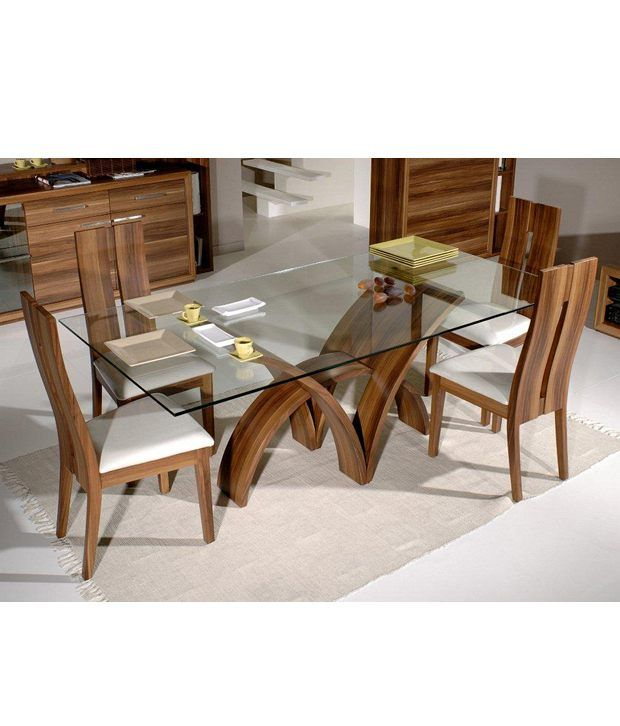 Dream Furniture Teak Wood 6 Seater Luxury Rectangle Glass Pertaining To Wood Top Dining Tables (View 4 of 25)