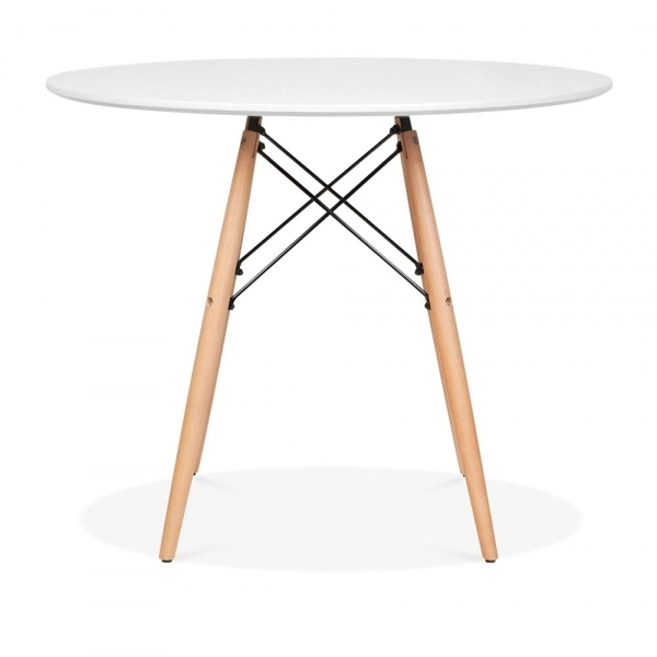 Dsw Style Round Dining Table, White 90Cm With Regard To Eames Style Dining Tables With Wooden Legs (View 11 of 25)