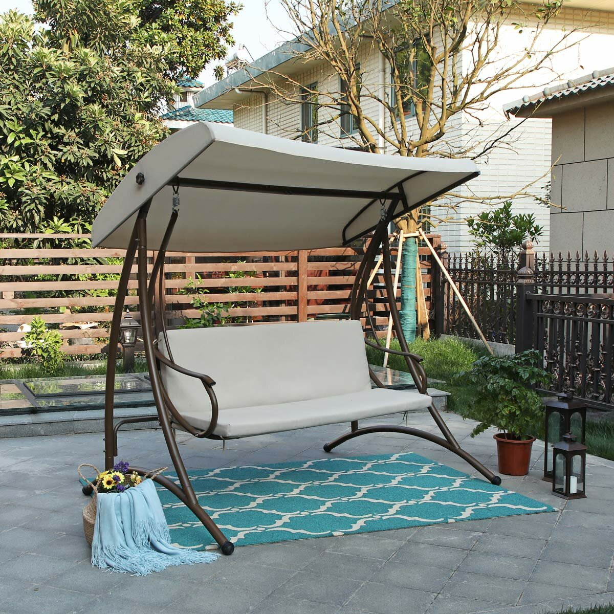 Dunwich Outdoor Steel Porch Swing With Stand Pertaining To Outdoor Pvc Coated Polyester Porch Swings With Stand (View 22 of 25)