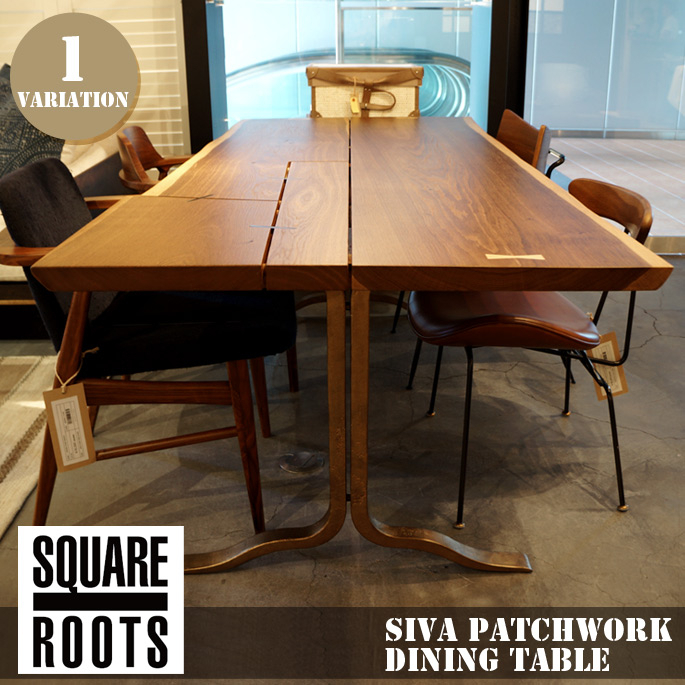 シーバパッチワークダイニングテーブルスモークドオークプラスレッグ (Siva Patchwork Dining Table Smoked Oak Brass Leg) Square Origin (Square Roots) 122571 Intended For Dining Tables In Smoked Seared Oak (View 18 of 25)