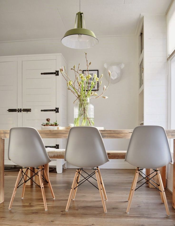 Eames Molded Plastic Chairs With Dowel Wood Leg Base + Farm Intended For Eames Style Dining Tables With Wooden Legs (View 10 of 25)