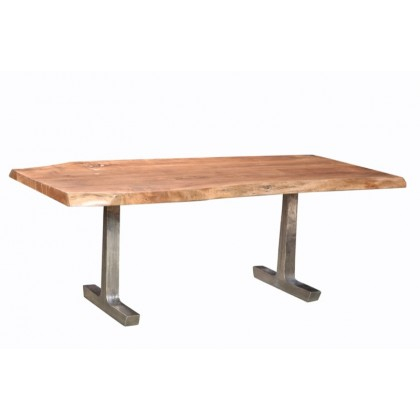Earth Dining Table   Cdi Furniture Throughout Acacia Wood Top Dining Tables With Iron Legs On Raw Metal (View 14 of 25)