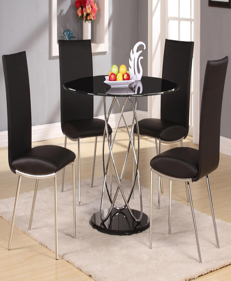 Eclipse Black Dining Set With 4 Pu Chairs Chrome & Black|18 In Eclipse Dining Tables (View 8 of 25)