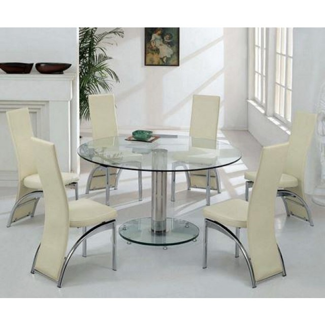 Elegant Large Round Glass Dining Table And Chair Clearance In Elegance Large Round Dining Tables (Image 11 of 25)