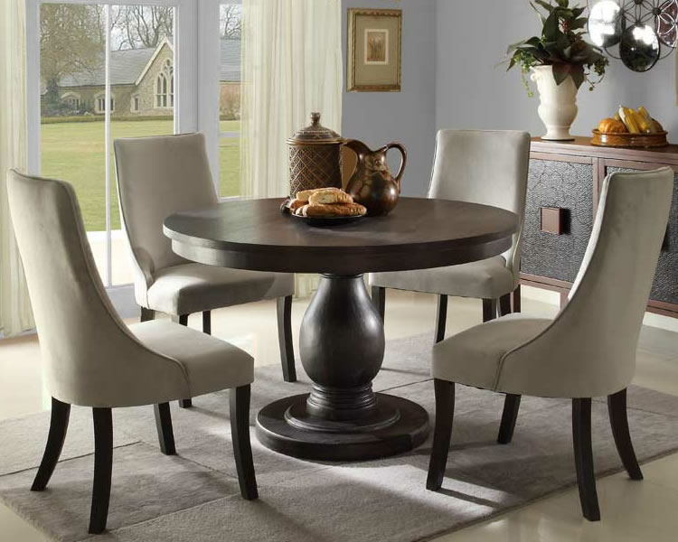 Elegant Round Dining Table Set With Leaf Extension Room Within Elegance Small Round Dining Tables (View 7 of 25)