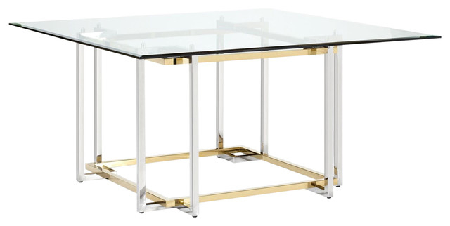 Elin Square Dining Table, Polished Gold And Chrome Mixed For Chrome Contemporary Square Casual Dining Tables (View 16 of 25)