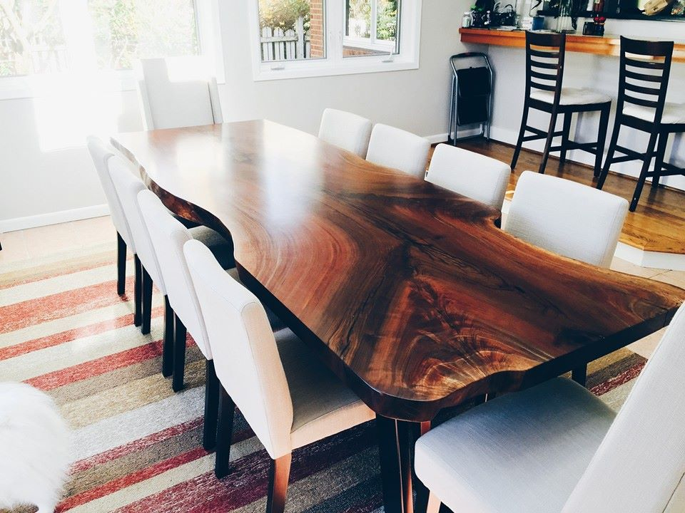 Elpis&wood Throughout Walnut Finish Live Edge Wood Contemporary Dining Tables (Image 6 of 25)