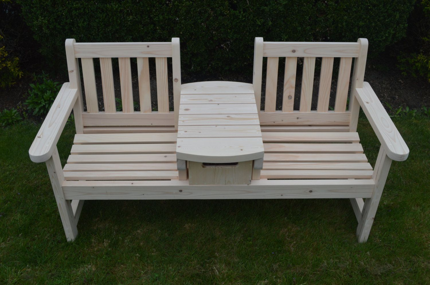 English Twin Seater Bench With Table And Wood Crate Drawer Throughout Twin Seat Glider Benches (View 17 of 25)