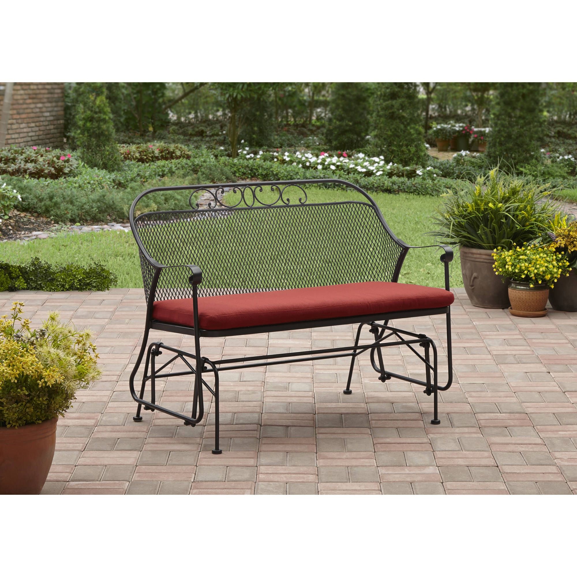 Enjoy Relaxing On The Red Better Homes And Gardens Clayton Within 2 Person Antique Black Iron Outdoor Gliders (Image 16 of 25)