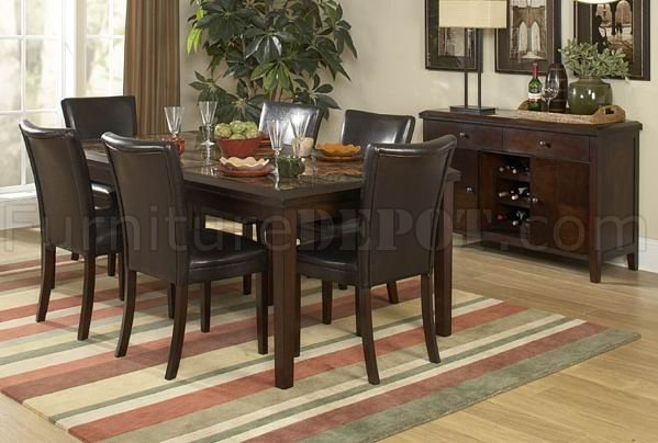 Espresso Finish Classic Dining Table W/faux Marble Top & Options With Espresso Finish Wood Classic Design Dining Tables (Image 9 of 25)