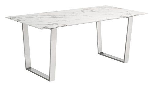 Etlas Stone & Brushed Silver Metal Frame Commercial Grade With Dining Tables With Brushed Stainless Steel Frame (View 5 of 25)