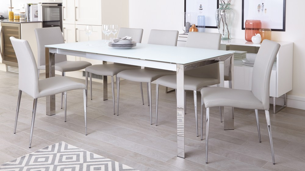 Eve White Frosted Glass With Chrome And Elise Extending Dining Set For Frosted Glass Modern Dining Tables With Grey Finish Metal Tapered Legs (View 8 of 25)