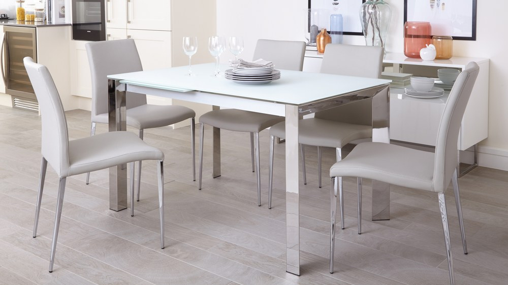Eve White Frosted Glass With Chrome And Elise Extending Dining Set Pertaining To Frosted Glass Modern Dining Tables With Grey Finish Metal Tapered Legs (View 6 of 25)