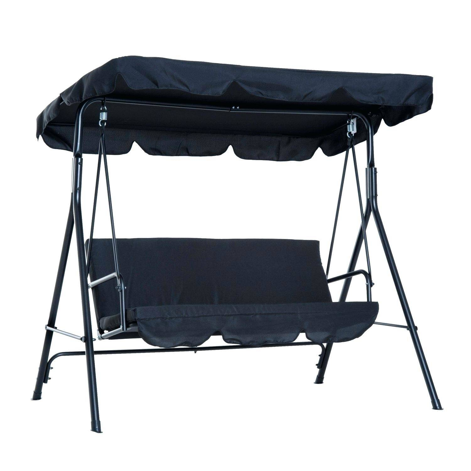 Extra Long Porch Swing Steel Fabric Outdoor Canopy Stand Intended For Daybed Porch Swings With Stand (View 14 of 25)