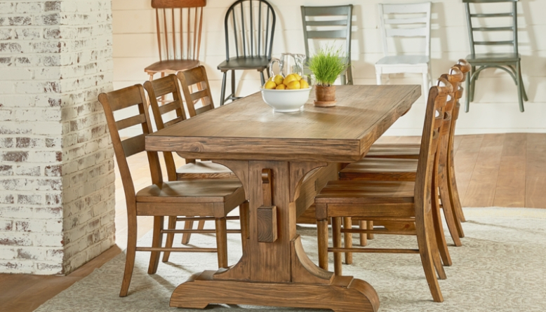Farmhouse Dining Table Ideas Cozy Rustic Look Diy Home Art Inside Small Rustic Look Dining Tables (Image 9 of 25)