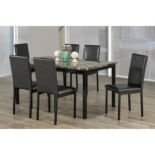 Featured Image of Faux Marble Finish Metal Contemporary Dining Tables