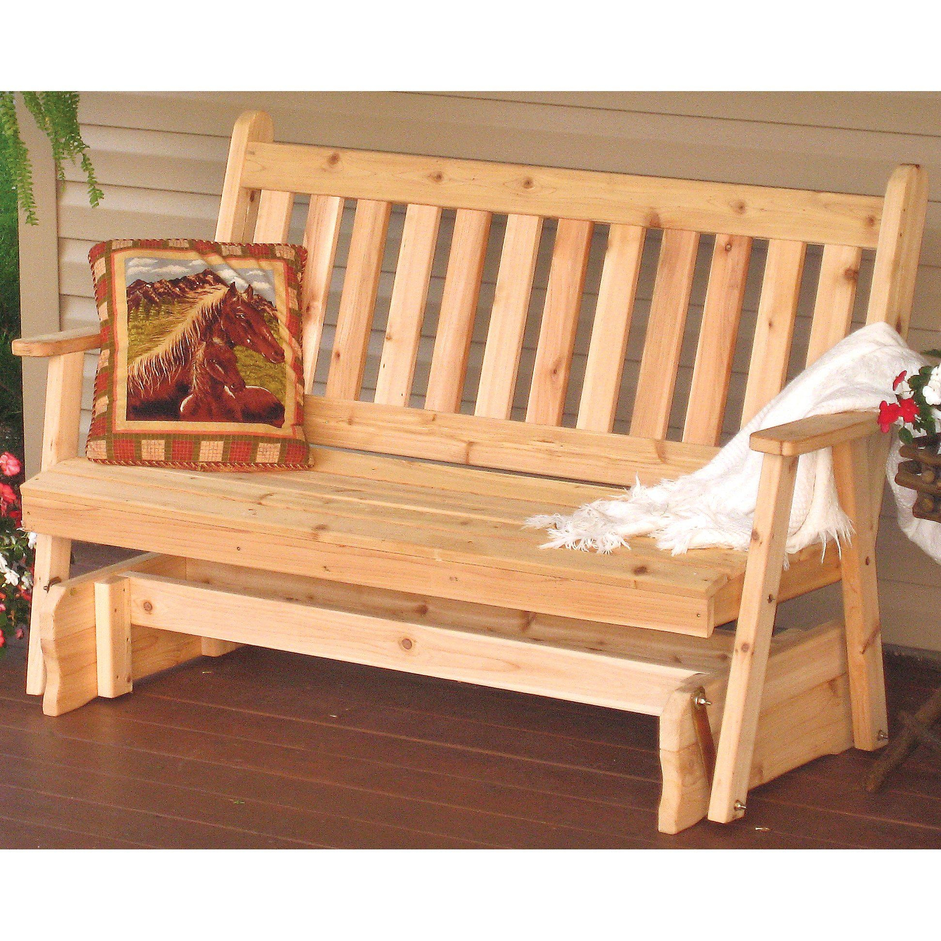 Features:  This Glider Will Dress Up Any Porch Or Patio In 2 Person Natural Cedar Wood Outdoor Gliders (Image 13 of 25)