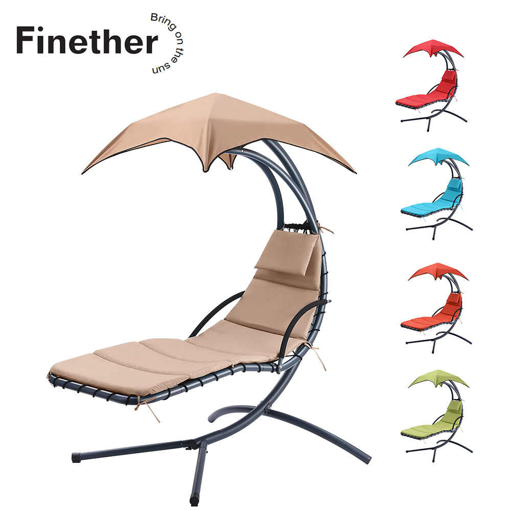Finether Hanging Chaise Lounge Chair Outdoor Indoor Hammock Inside Garden Leisure Outdoor Hammock Patio Canopy Rocking Chairs (View 8 of 25)