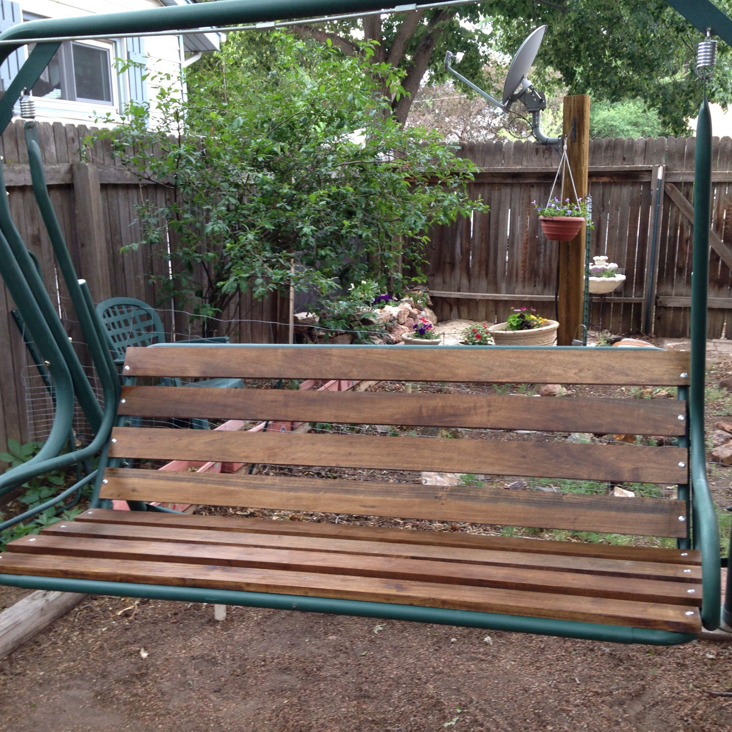 Finished Swing   Patio Swing, Diy Patio, Outdoor Projects Inside Canopy Patio Porch Swings With Pillows And Cup Holders (View 24 of 25)
