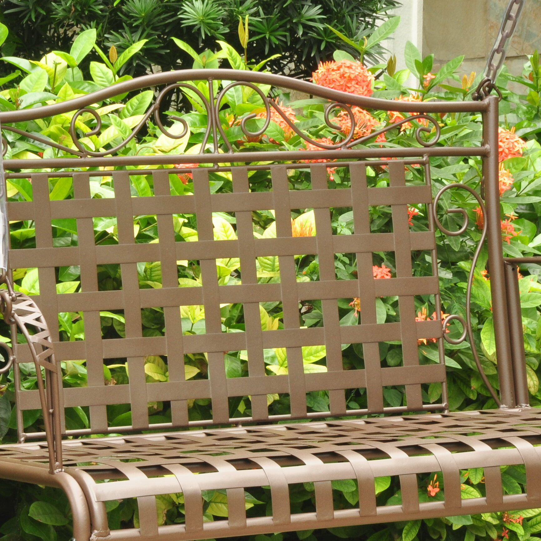 Fleur De Lis Living Saundra Iron Porch Swing & Reviews | Wayfair Throughout 2 Person Hammered Bronze Iron Outdoor Swings (Image 4 of 25)
