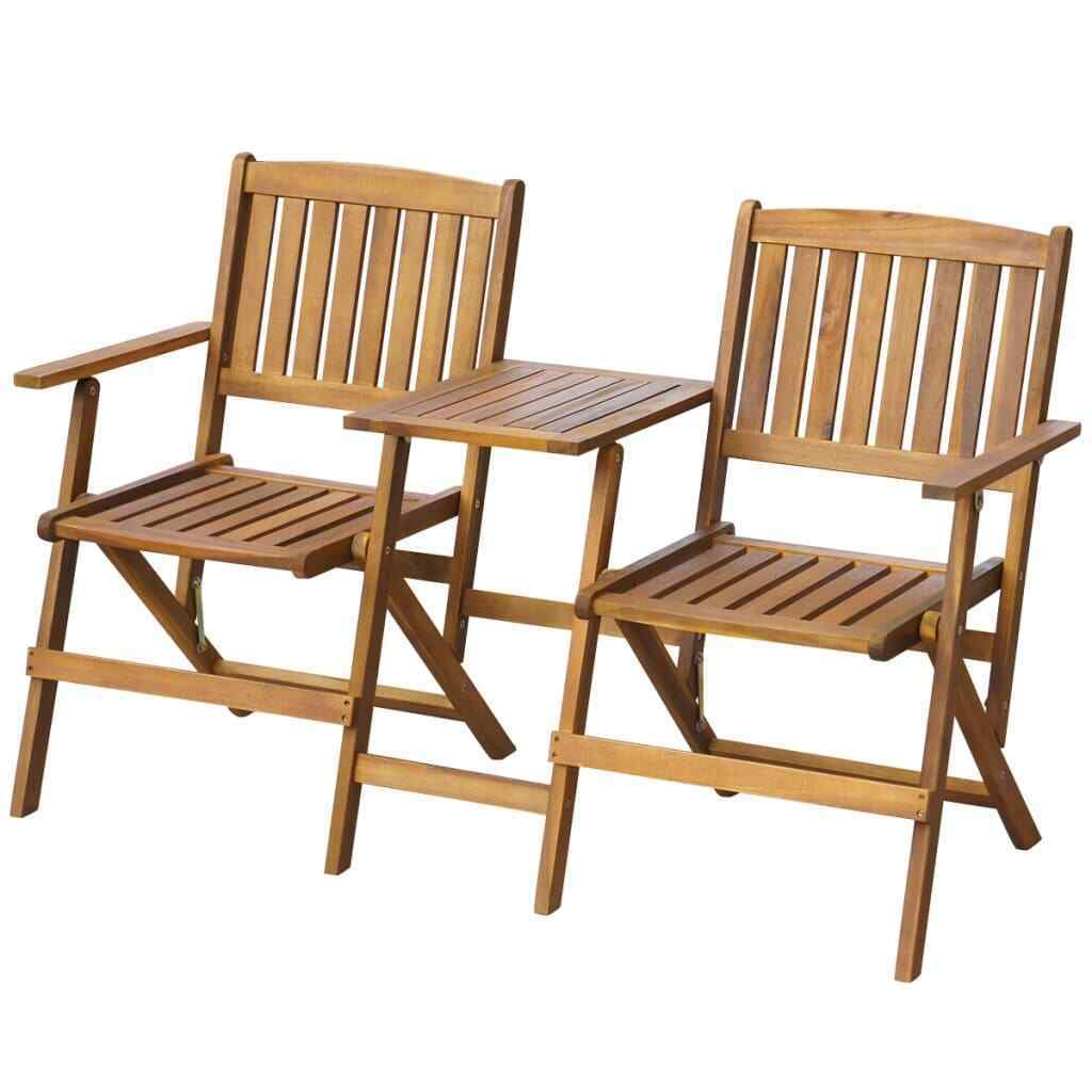 Folding Garden Love Seat Wooden Bench 2 Seater Patio Twin Chair With Table New Inside Twin Seat Glider Benches (View 15 of 25)