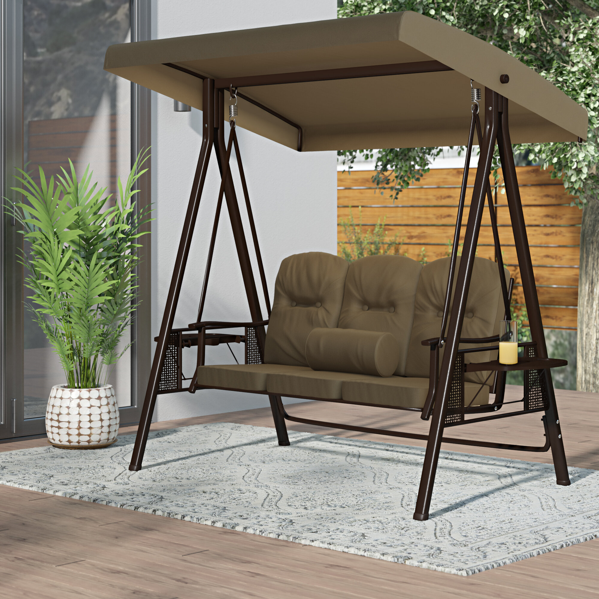 Folkston Outdoor Canopy Porch Swing With Stand With Canopy Patio Porch Swing With Stand (View 4 of 25)