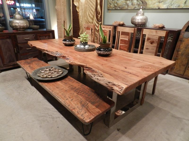 Freeform Dining Table In Acacia Wood With Chrome Legs With Regard To Acacia Dining Tables With Black X Legs (View 24 of 25)