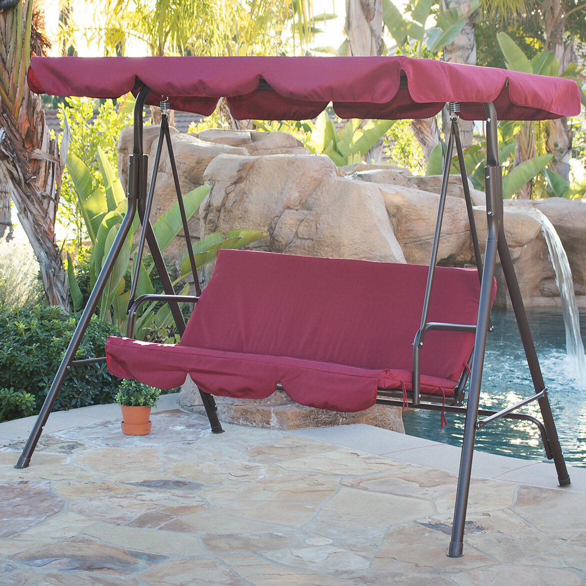 Freeport Park Brack Porch Swing With Stand & Reviews | Wayfair Intended For Patio Loveseat Canopy Hammock Porch Swings With Stand (Image 13 of 25)