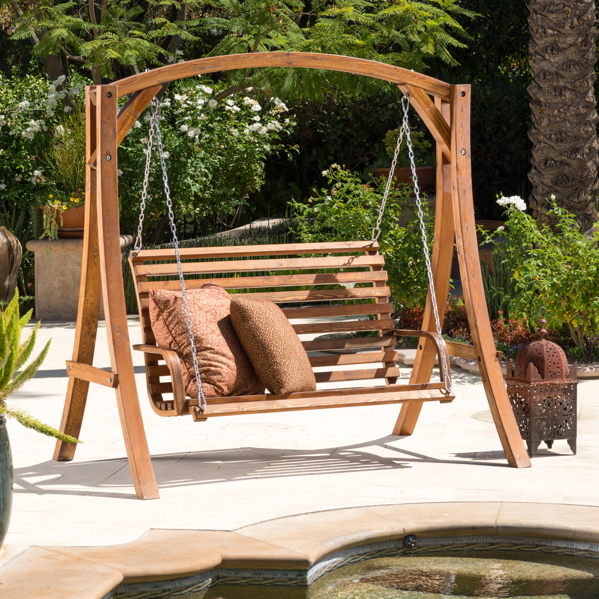 Freeport Park Brandi Porch Swing With Stand & Reviews | Wayfair Within 2 Person Light Teak Oil Wood Outdoor Swings (View 6 of 25)