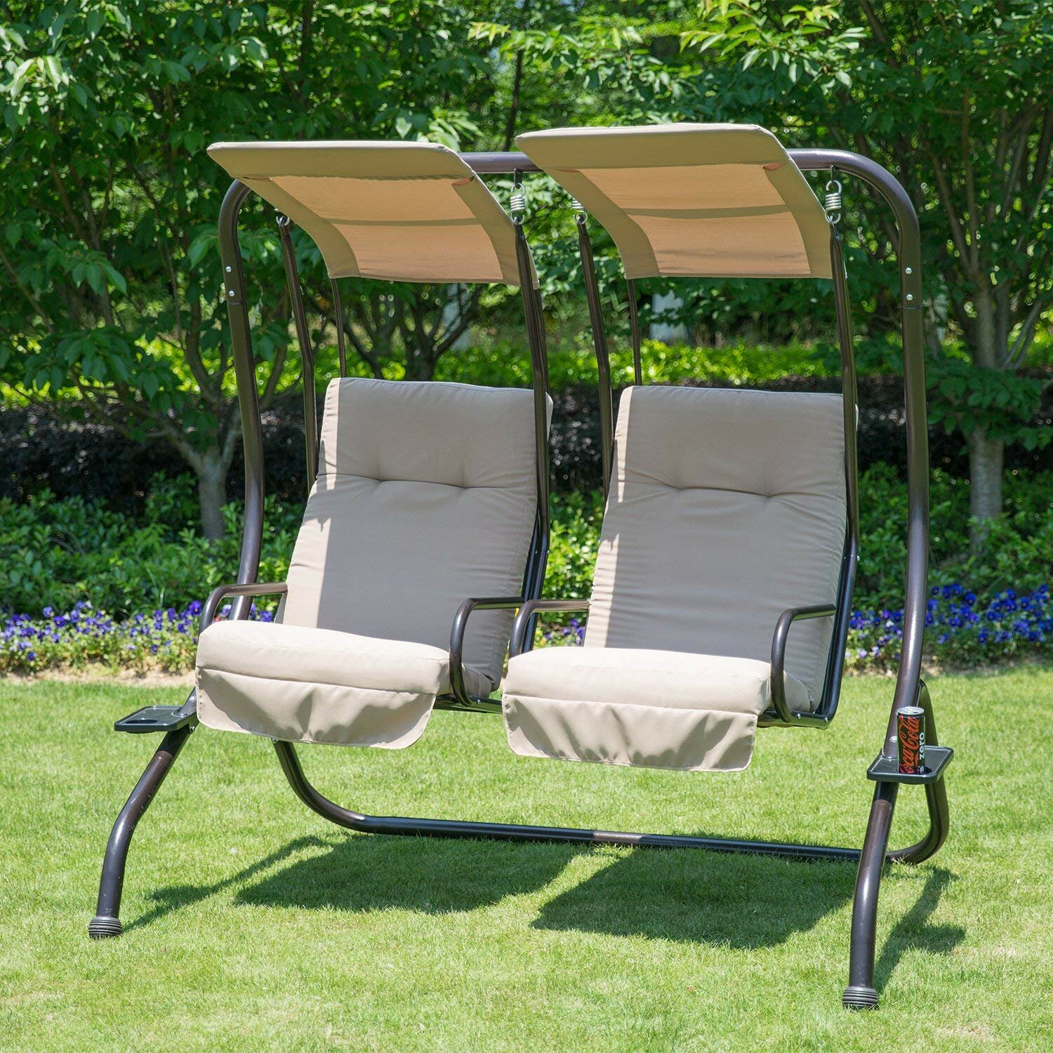 Freeport Park Morrilton Porch Swing With Stand & Reviews In 2 Person Adjustable Tilt Canopy Patio Loveseat Porch Swings (Image 13 of 25)