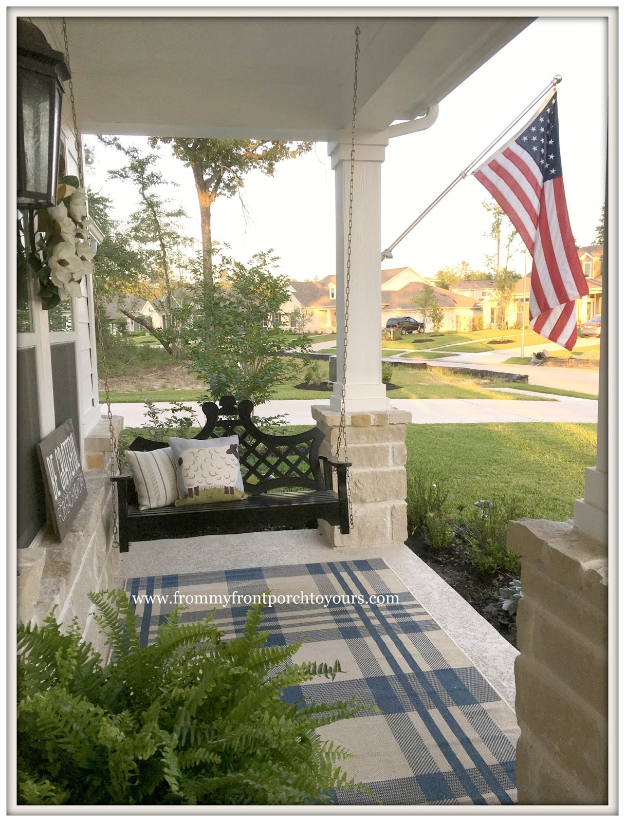 From My Front Porch To Yours: Farmhouse Front Porch Updates Pertaining To American Flag Porch Swings (View 15 of 25)