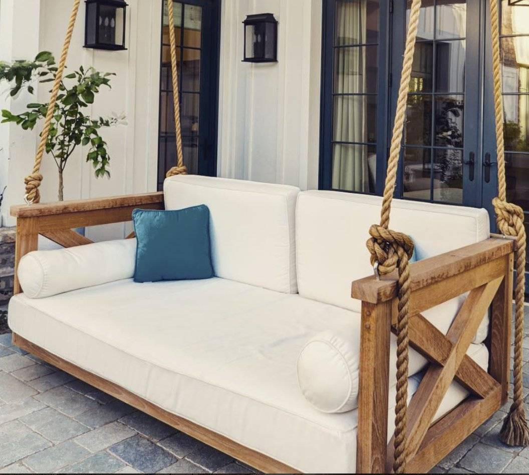 Front Porch Swing Plans Cushions Clearance Kits Home Depot In Day Bed Porch Swings (Image 9 of 25)