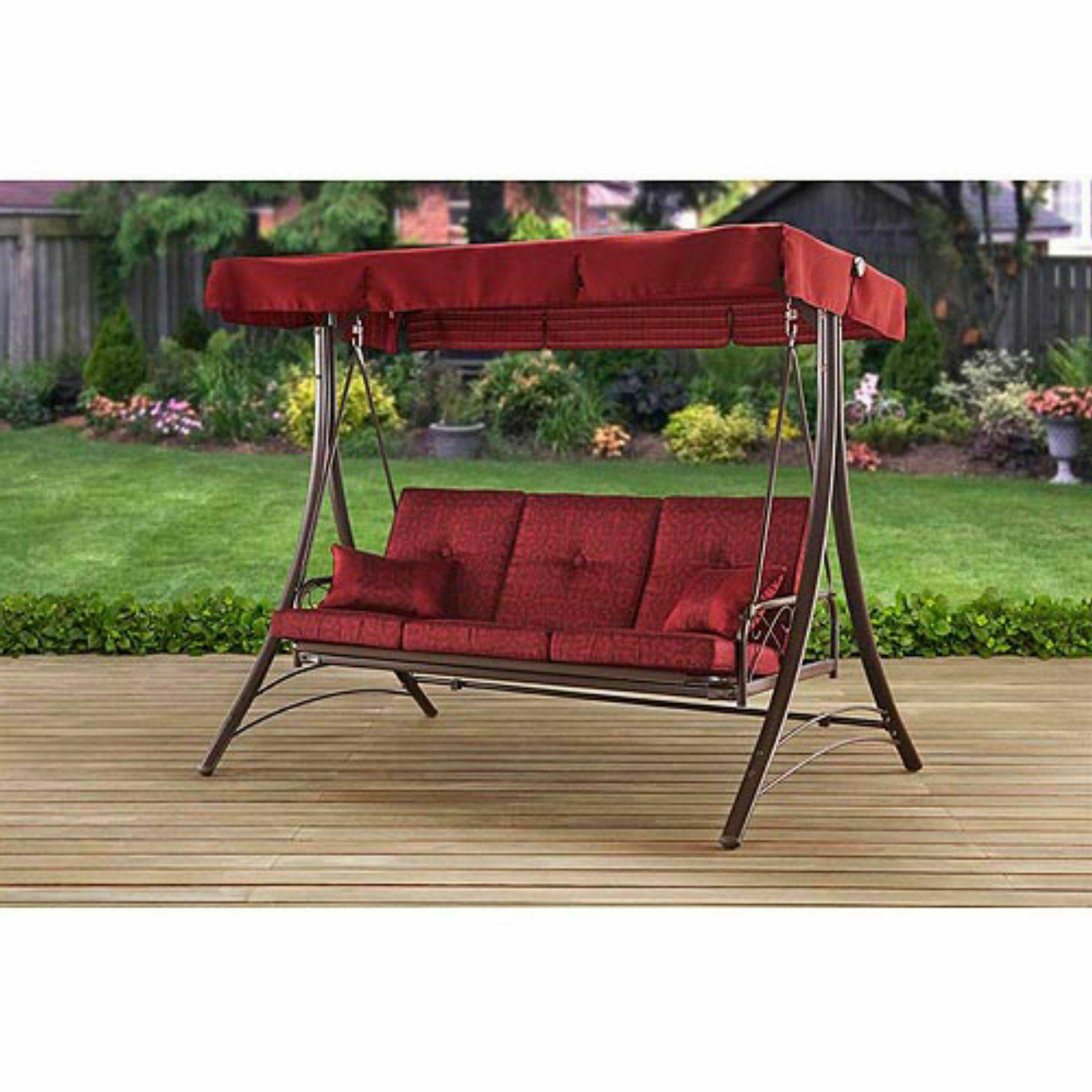 Front Porch Swing Set Outdoor Patio Swin Throughout 3 Person Red With Brown Powder Coated Frame Steel Outdoor Swings (View 12 of 25)