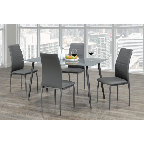 Frosted Glass Modern Dining Table With Grey Finish Metal Tapered Legs Regarding Frosted Glass Modern Dining Tables With Grey Finish Metal Tapered Legs (View 1 of 25)