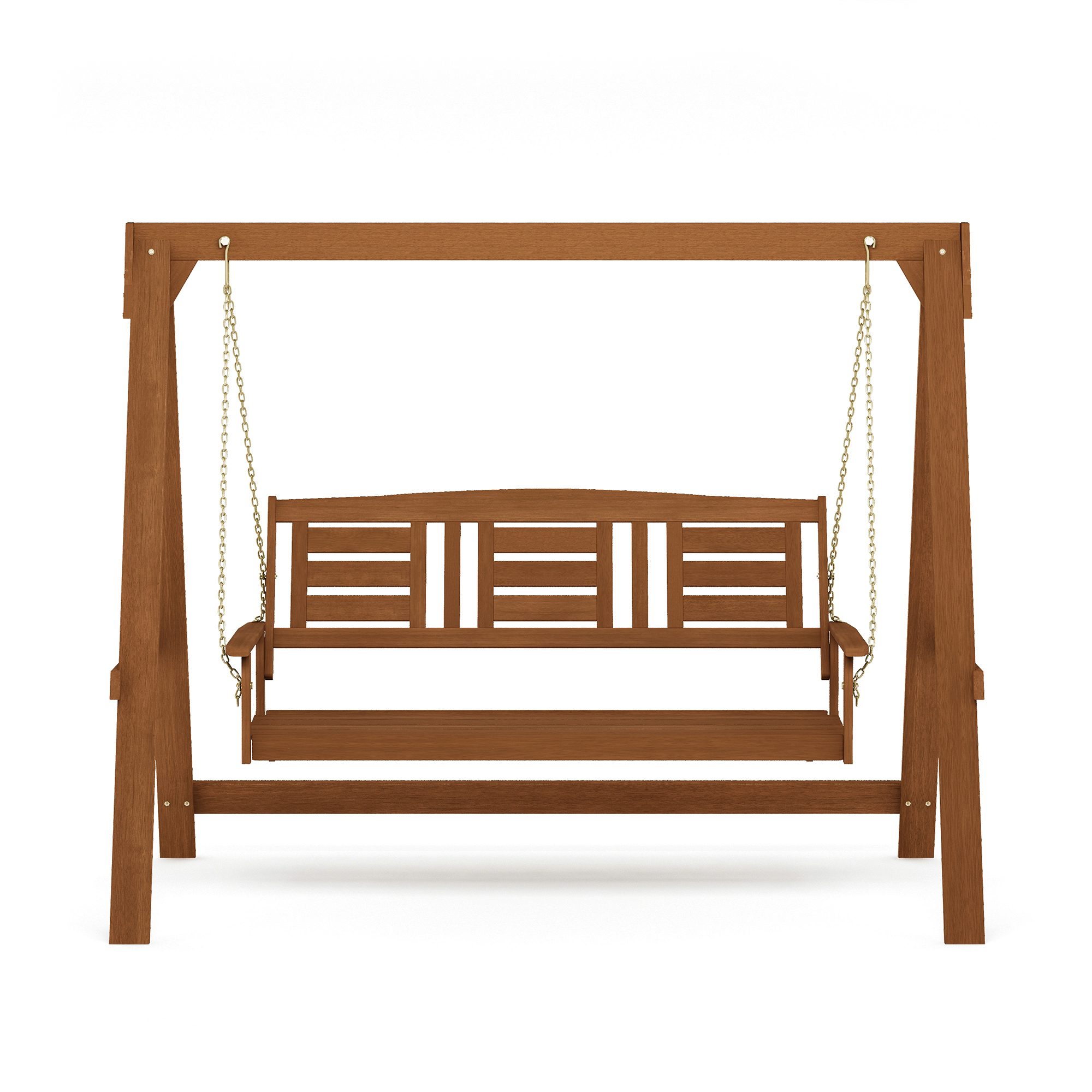 Featured Image of 3 Person Light Teak Oil Wood Outdoor Swings