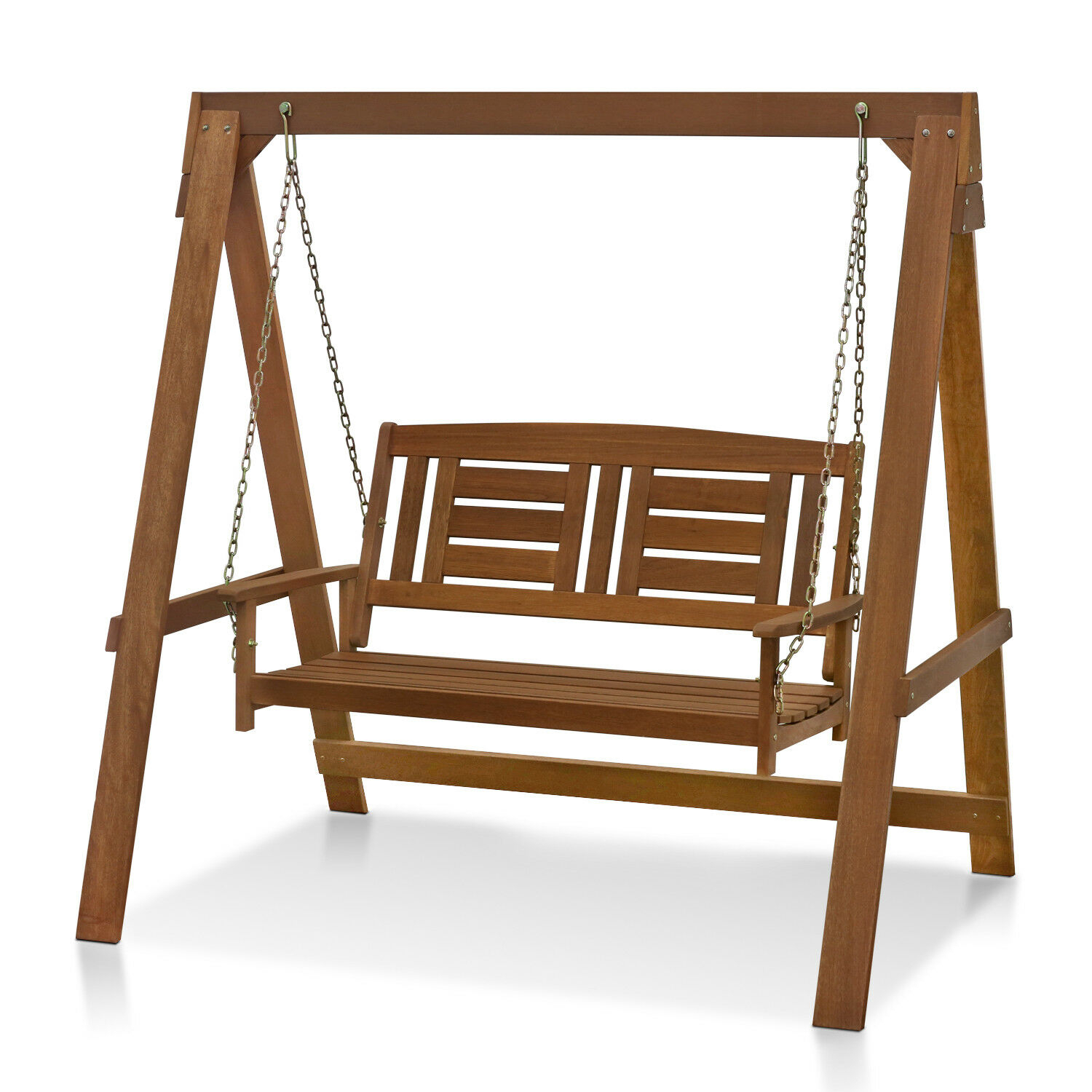 Furinno Tioman Hardwood Hanging Porch Swing With Stand, Brown Inside 2 Person Light Teak Oil Wood Outdoor Swings (View 3 of 25)