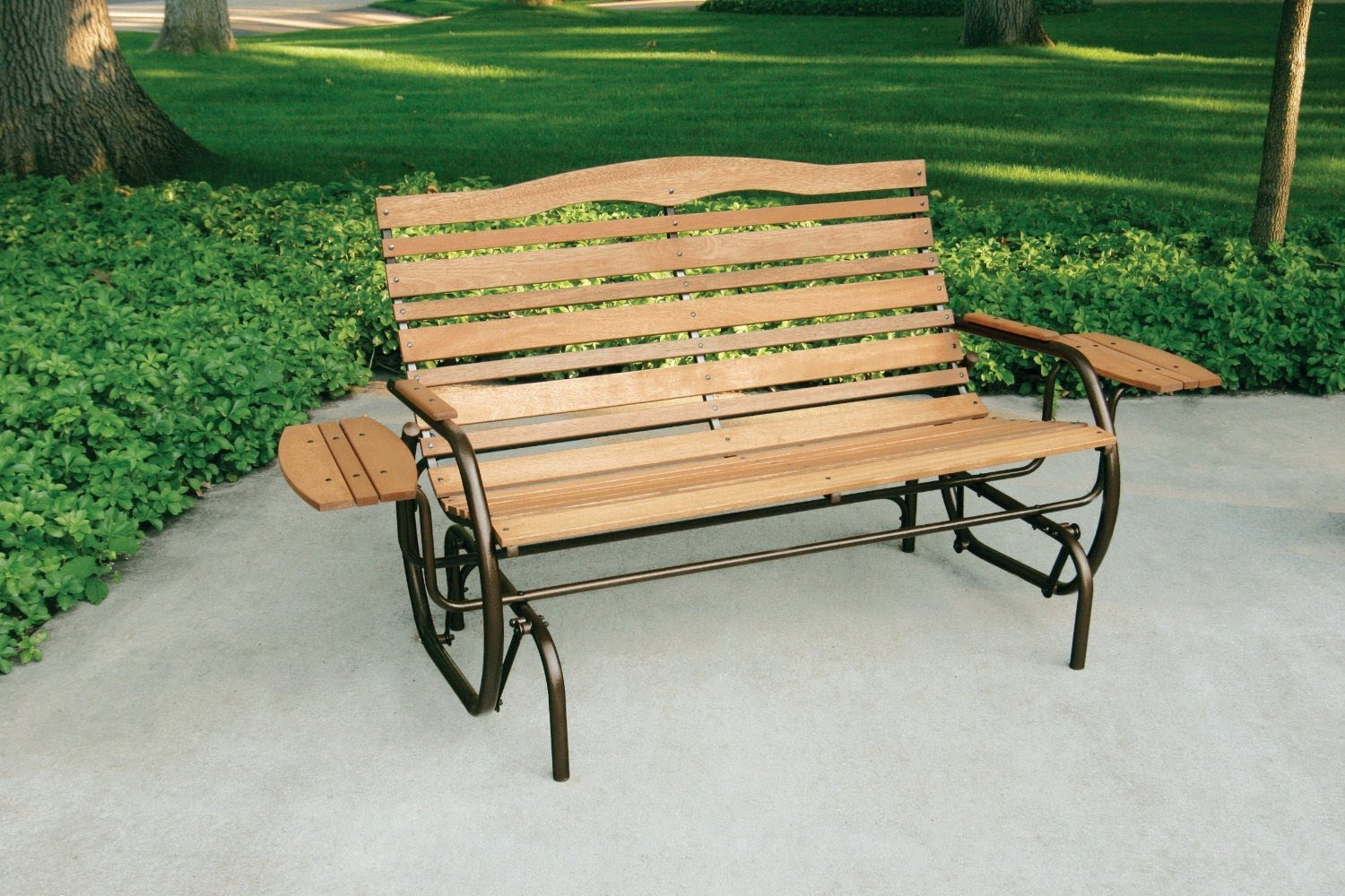 Furniture: Jack Post Country Garden Porch Glider With Tray Within Iron Double Patio Glider Benches (Image 10 of 25)