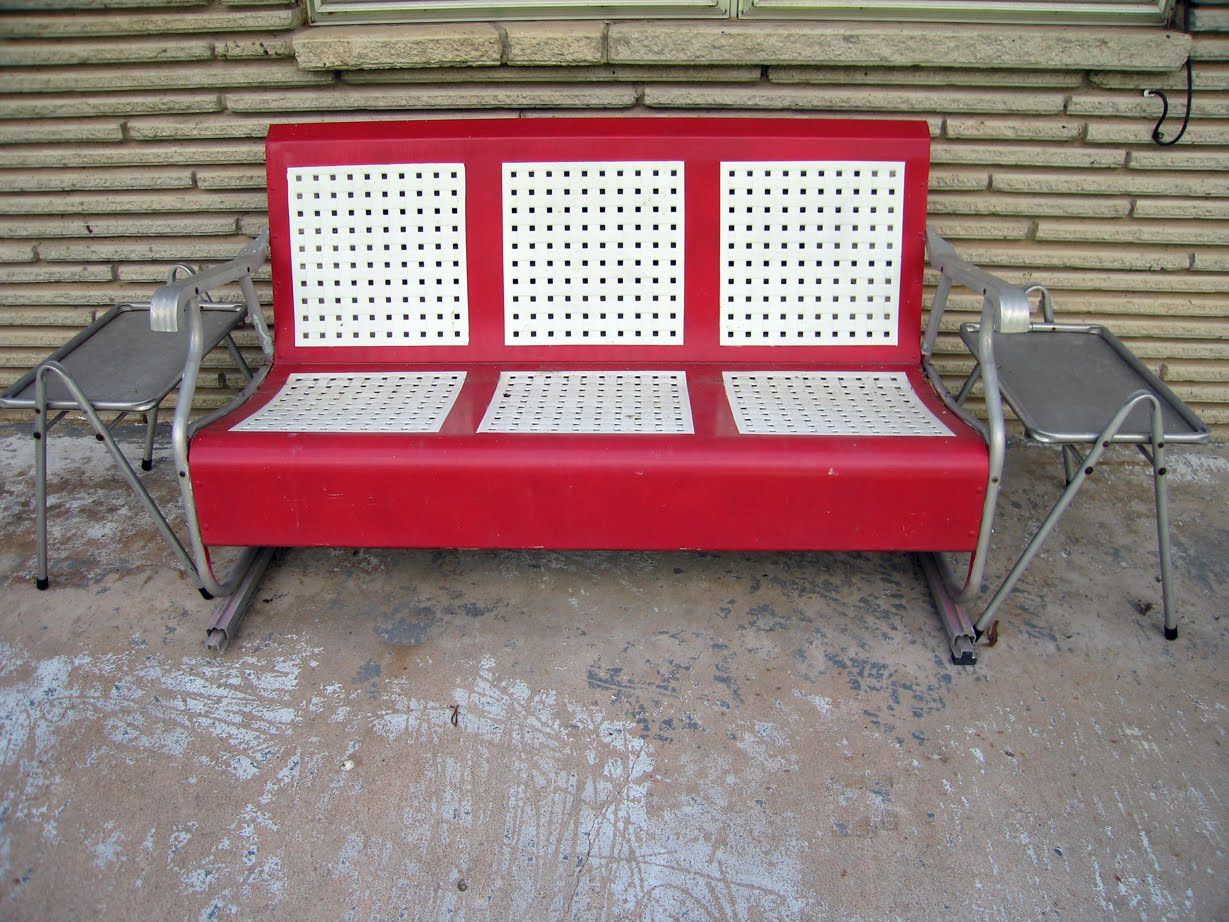 Furniture: Metal Porch Glider In Red And White For Outdoor Throughout Metal Retro Glider Benches (Image 4 of 25)