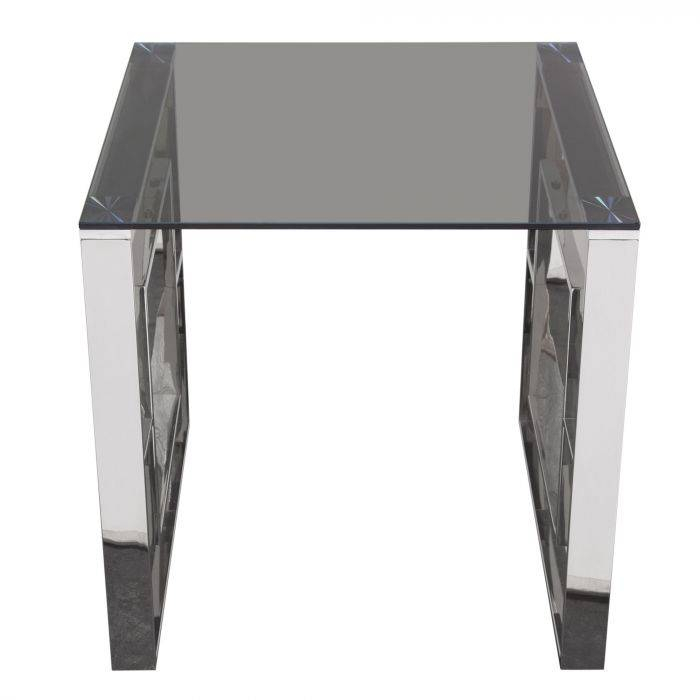 Furniture Muse Square End Table Glass Top And Stainless Within Dining Tables With Brushed Gold Stainless Finish (Image 17 of 25)