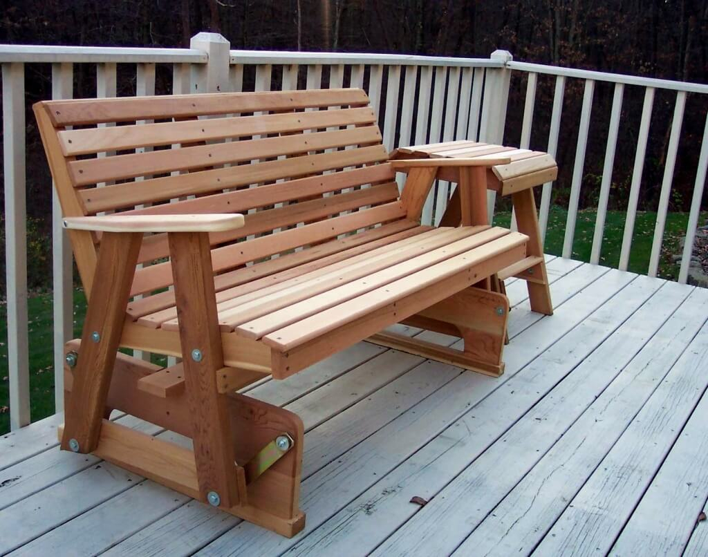 Furniture: Natural Wood Porch Glider For Interesting Outdoor With Regard To Outdoor Patio Swing Glider Bench Chairs (View 13 of 25)