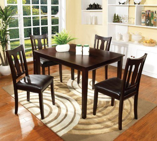 Furniture Of America Marion 5 Piece Solid Wood Dining Set Regarding Atwood Transitional Square Dining Tables (View 8 of 25)