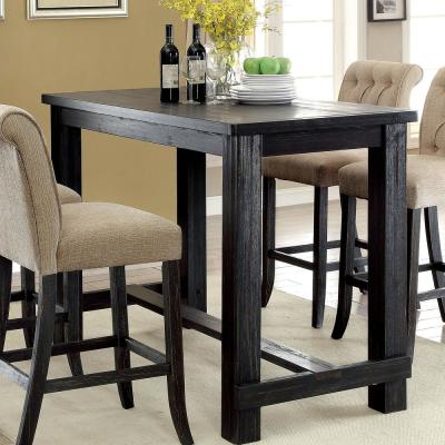 Furniture Of America Ullen Antique Black Bar Table Idf Throughout Antique Black Wood Kitchen Dining Tables (View 8 of 25)