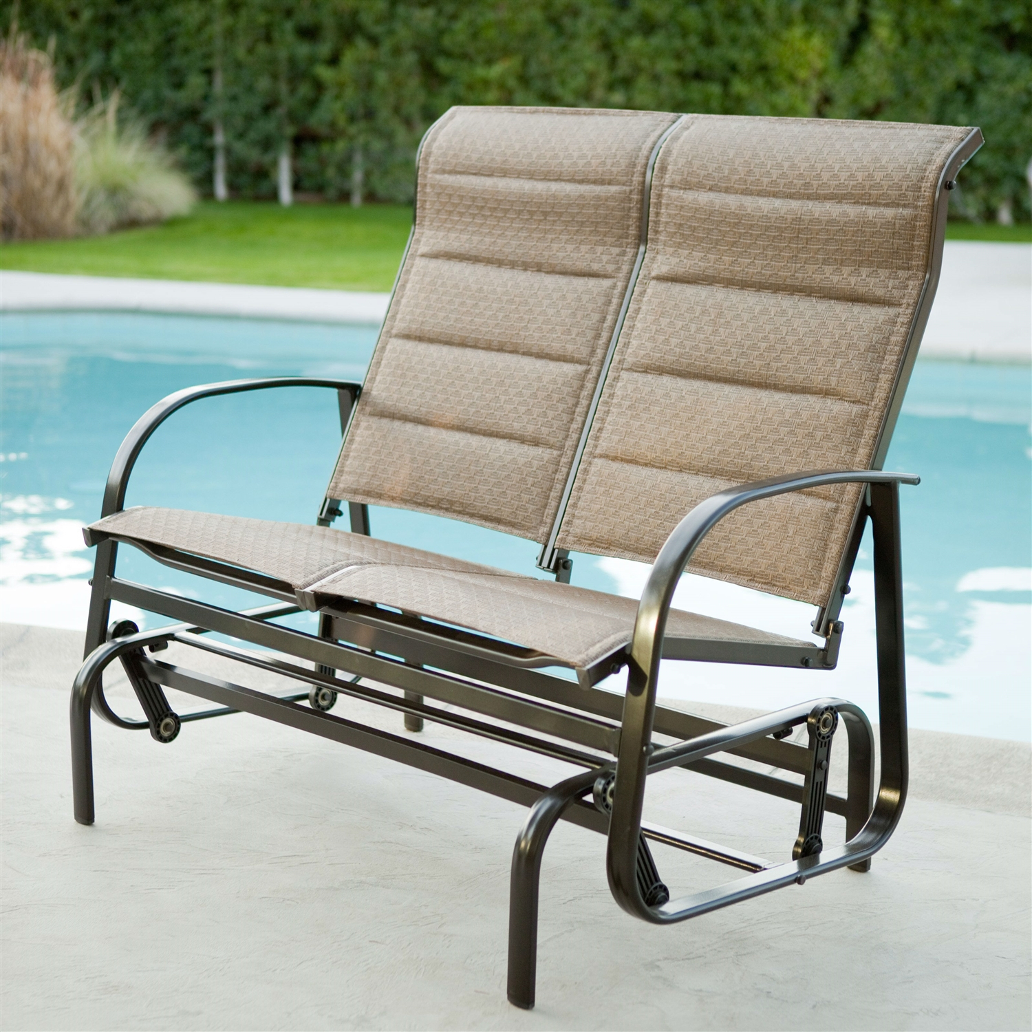 Furniture Patio Weatherproof Sling Outdoor Loveseat Glider In Sling Double Glider Benches (View 24 of 25)