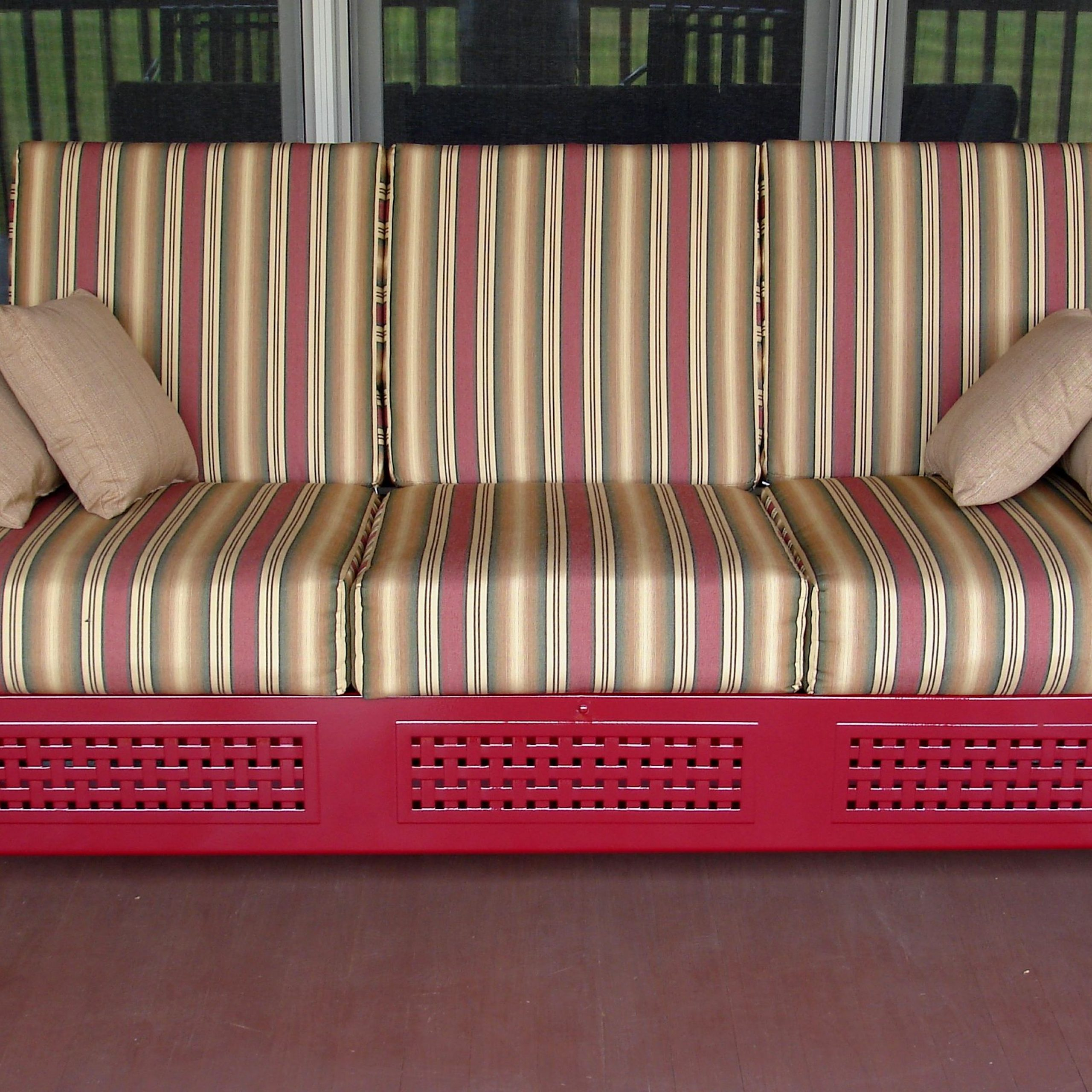 Furniture: Vintage Aluminum Porch Glider With Cushions For Intended For Loveseat Glider Benches With Cushions (View 22 of 25)