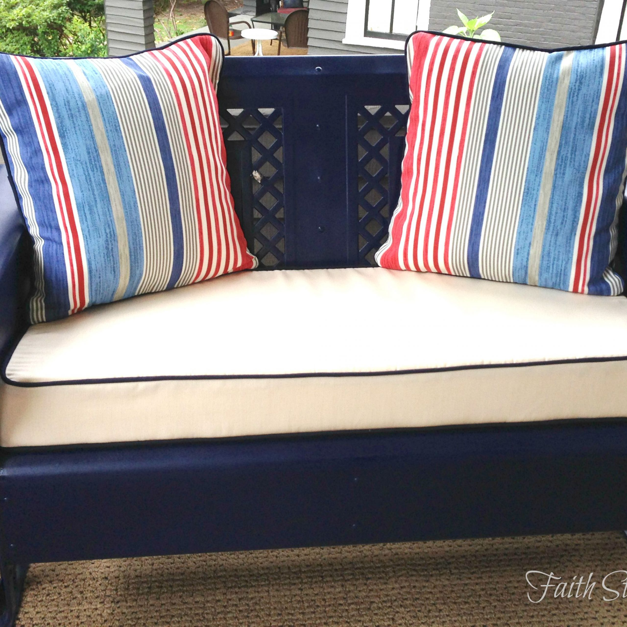 Furniture: Vintage Aluminum Porch Glider With Cushions For Throughout Glider Benches With Cushions (View 14 of 25)