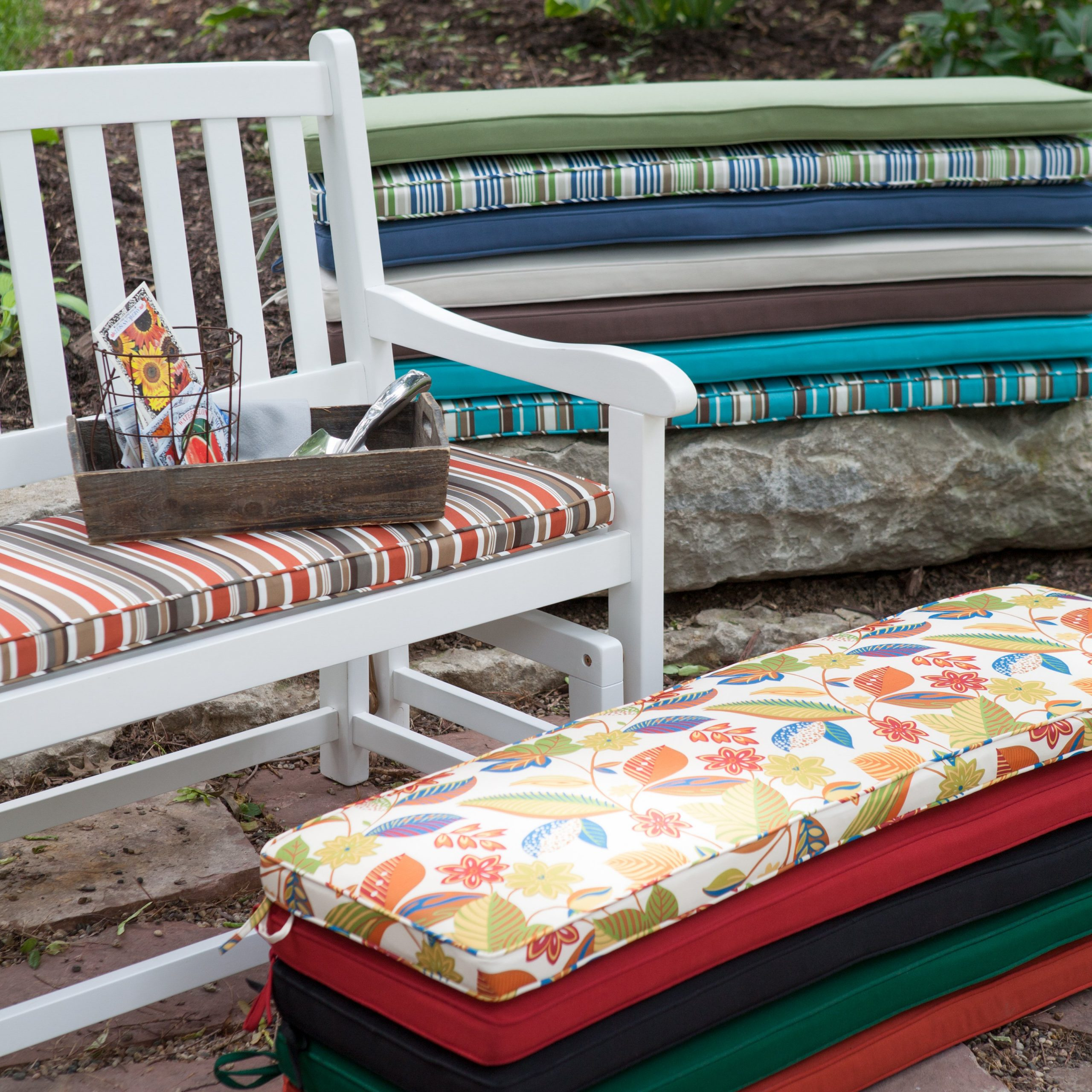 Furniture: Vintage Aluminum Porch Glider With Cushions For With Regard To Rocking Benches With Cushions (View 17 of 25)